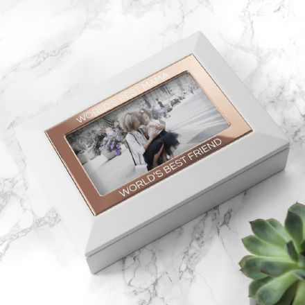 White & Rose Gold photo jewellery box